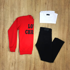 Outfit 272 - Jean negro - Buzo Red - Remera Basic