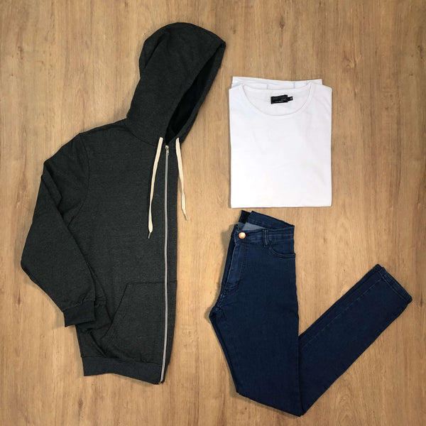 Outfit 498 - Jean Blue - Campera Grey - Remera Basic