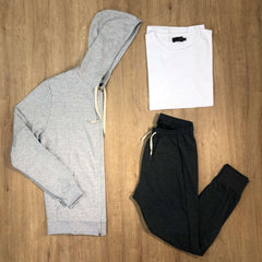 Outfit 499 - Jogger Grey - Campera Mel - Remera Basic