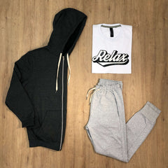 Outfit 500 - Jogger Mel - Campera Grey - Remera Est Basic