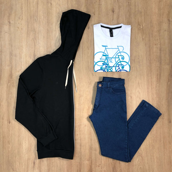 Outfit 508 - Jean Blue - Campera Black - Remera Est Basic