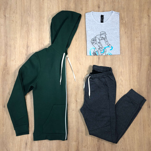 Outfit 522 - Jogger Grey - Campera Green - Remera Mel Est