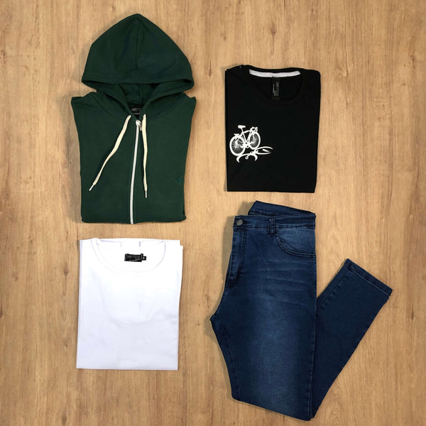 Outfit 523 - Jean Blue - Campera Green - Remera Basic - Remera Black Est
