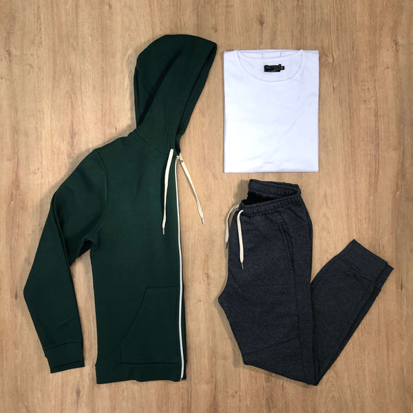 Outfit 527 - Jogger Grey - Campera Green - Remera Basic