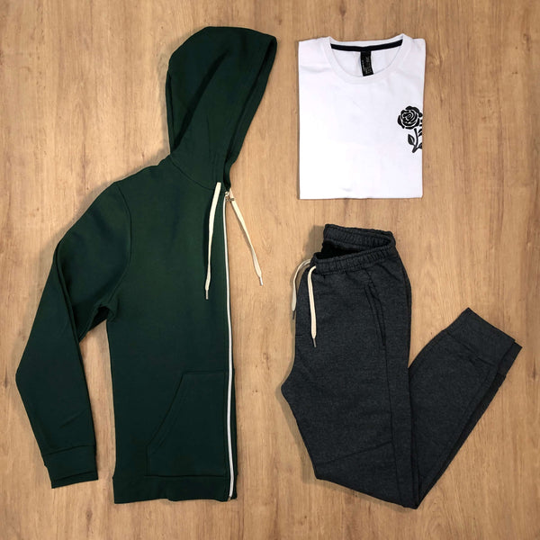 Outfit 528 - Jogger Grey - Campera Green - Remera Est Basic