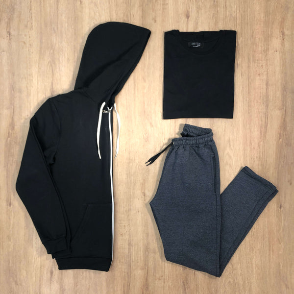 Outfit 540 - Jogger Grey - Campera Black - Remera Black