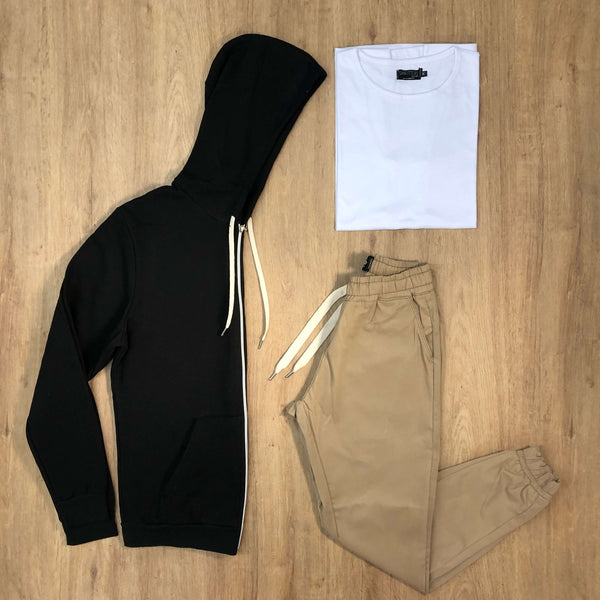 Outfit 570 - Jogger Gabe Beige - Campera Black - Remera Basic