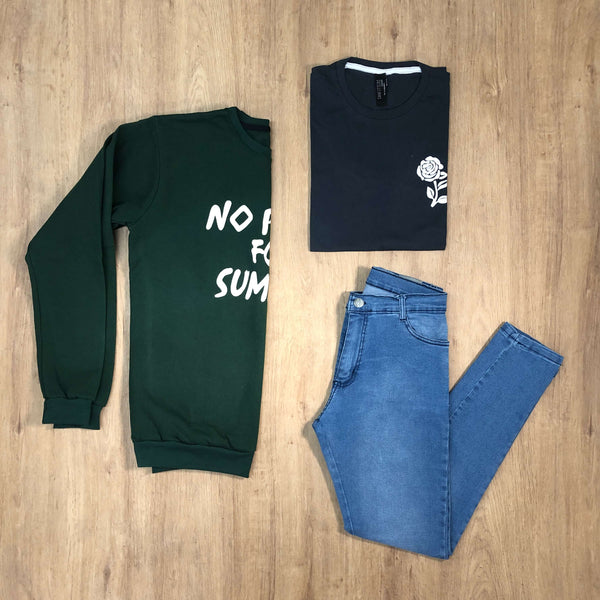 Outfit 580 - Jean Clar - Buzo Green - Remera Est Black
