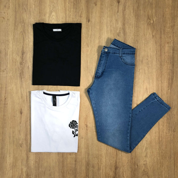 Outfit 583 - Jean Clar - Remera Black - Remera Est Basic