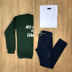 Outfit 585 - Jean Kevin - Buzo Green - Remera Basic