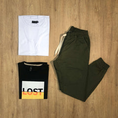 Outfit SNF 591 - Jogger Gabe Green - Remera Basic - Remera Est Black