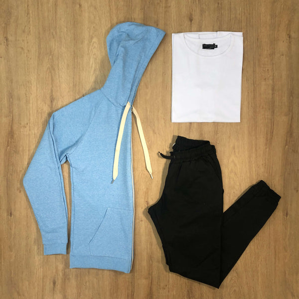Outfit SNF 602 - Jogger Gabe Black - Campera Sky - Remera Basic