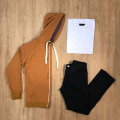 Outfit SNF 603 - Jean Negro - Campera Camel - Remera Basic