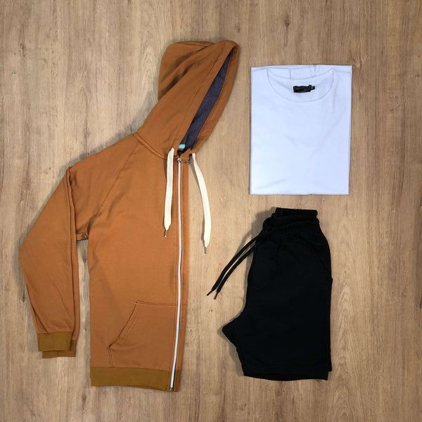 Outfit SNF 607 - Short Black - Campera Camel - Remera Basic