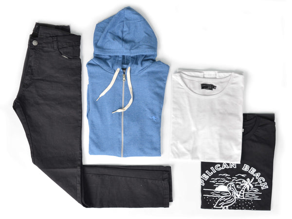 Outfit 427 - Jean Negro - Campera Blue - Remera Basic - Remera Black Est