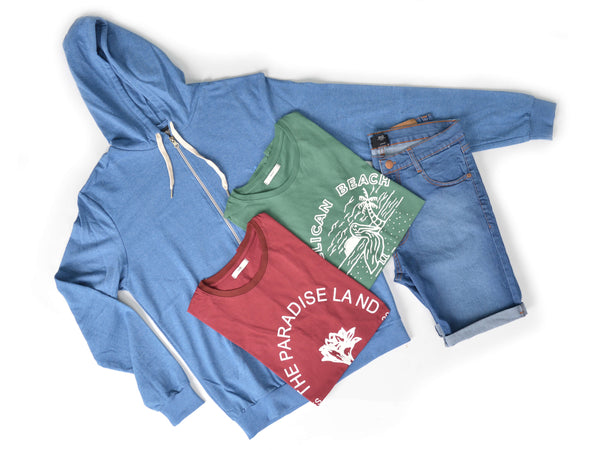 Outfit 429 - Bermuda Clar - Campera Blue - Remera Bordo Est - Remera Green Est