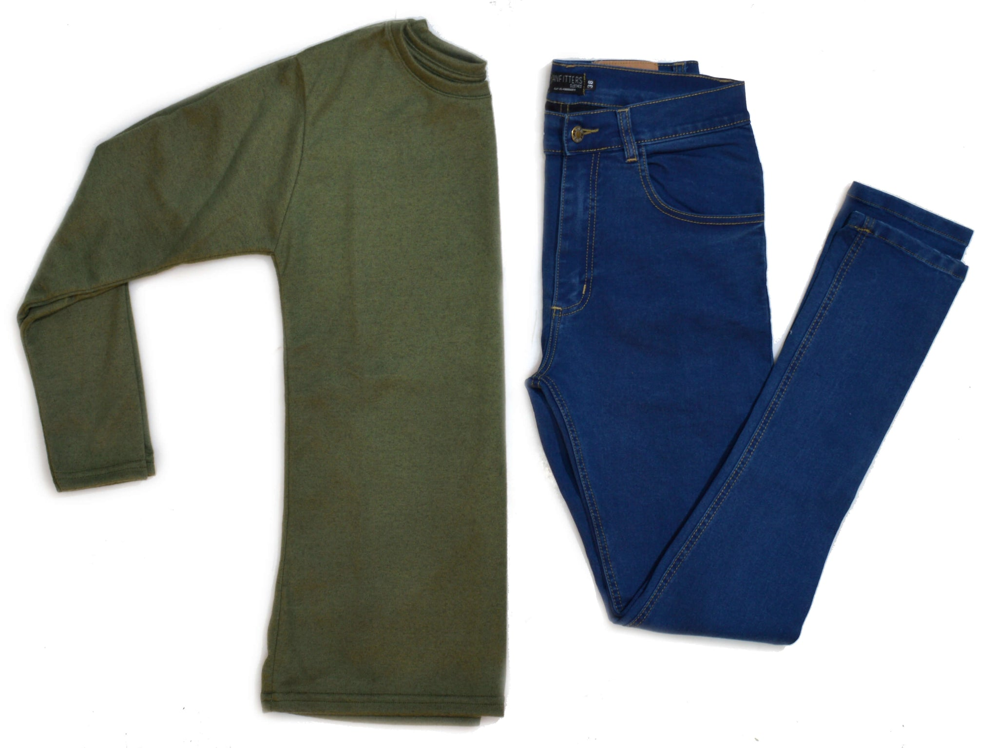 Outfit 433 - Jean Blue - Sweater Green