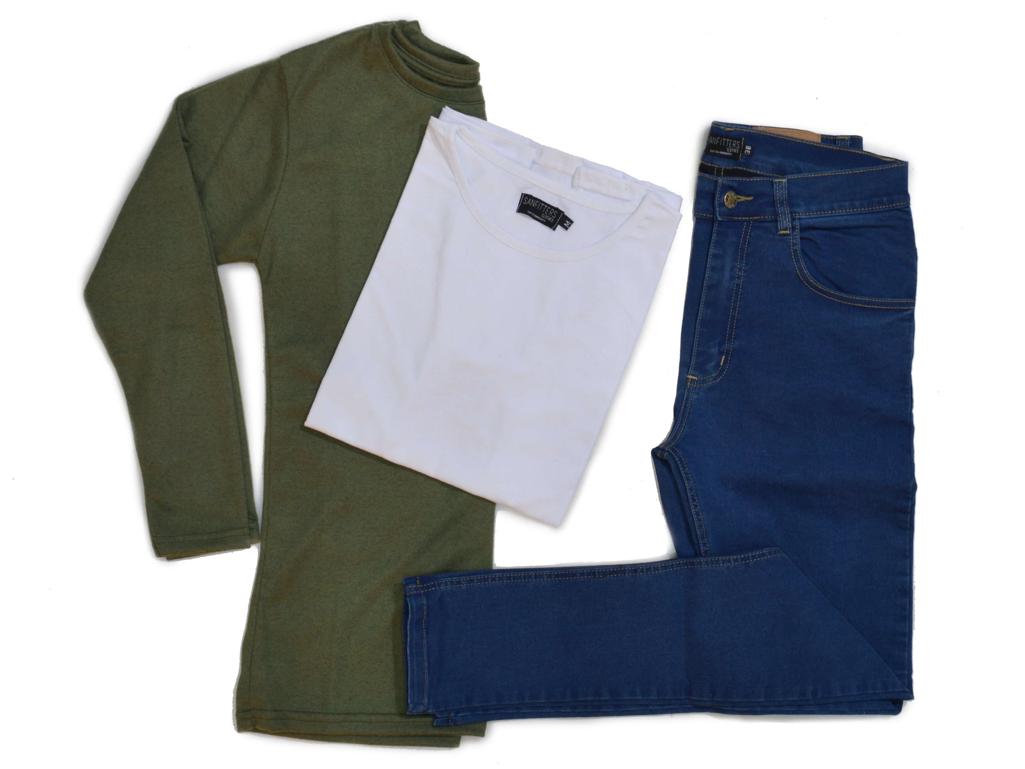 Outfit 435 - Jean Blue - Sweater Green - Remera Basic