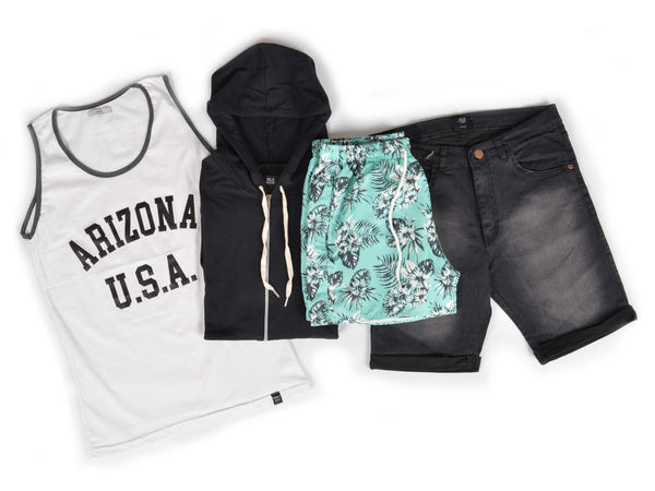 Outfit 470 - Bermuda Black - Short Leaf Green - Campera Black - Musculosa Basic