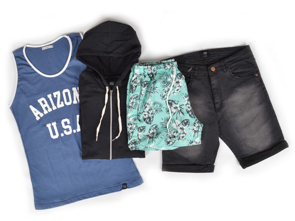 Outfit 474 - Bermuda Black - Short Leaf Green - Campera Black - Musculosa Blue