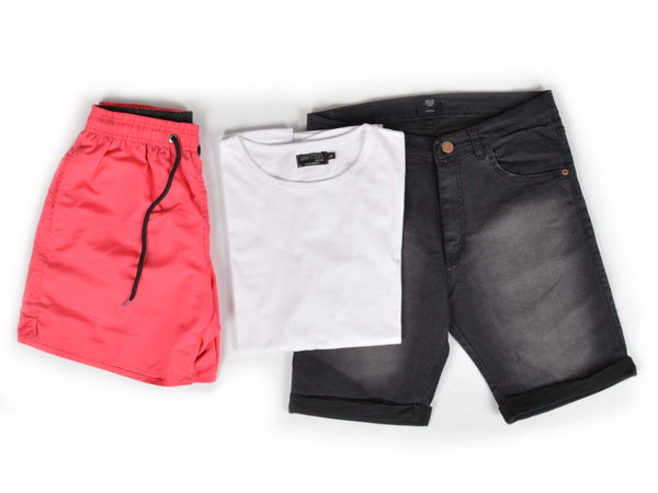 Outfit 475 - Bermuda Black - Short Coral - Remera Basic