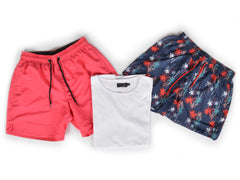Outfit 476 - Short Night Beach - Short Coral - Remera Basic