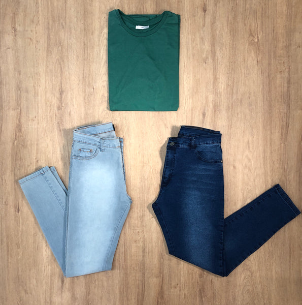 Outfit 495 - Jean Blue - Jean clar - Remera Long Green