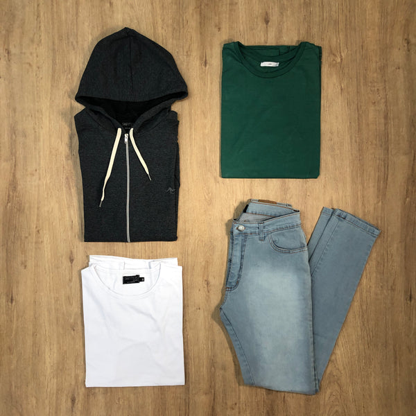 Outfit 497 - Jean clar - Campera Grey - Remera Long Green - Remera Basic