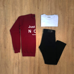 Outfit 284 - Jean Negro - Buzo Red - Remera Basic