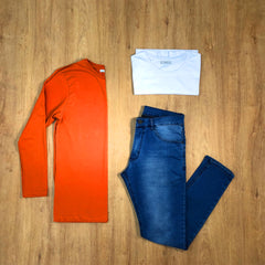 Outfit 394 - Jean Blue - Remera Basic - Remera Long Orange