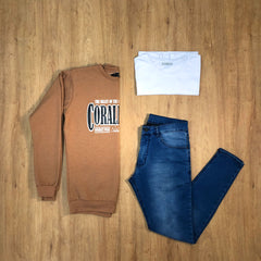 Outfit 398 - Jean Blue - Buzo Camel - Remera Basic