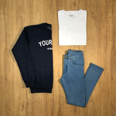Outfit 406 - Jean Clar - Buzo Grey - Remera Basic