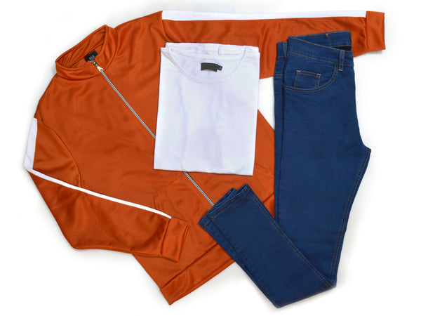 Outfit 407 - Jean Blue - Campera Lyon Orange - Remera Basic