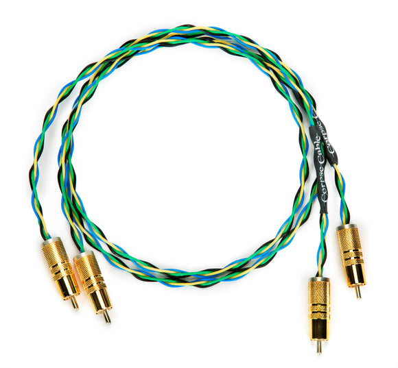 Earth Rocker RCA Interconnects - 4X19 AWG - Cardas Rhodium Plated Connectors - 3ft Pair