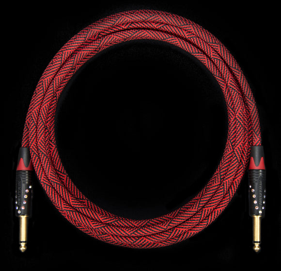 Corpse Crystal Clear Instrument Cable - Dead Red Custom