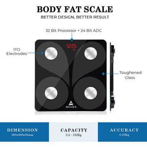 ActiveX Savvy Smart Digital Body Fat Scale with App (Charcoal Black) …