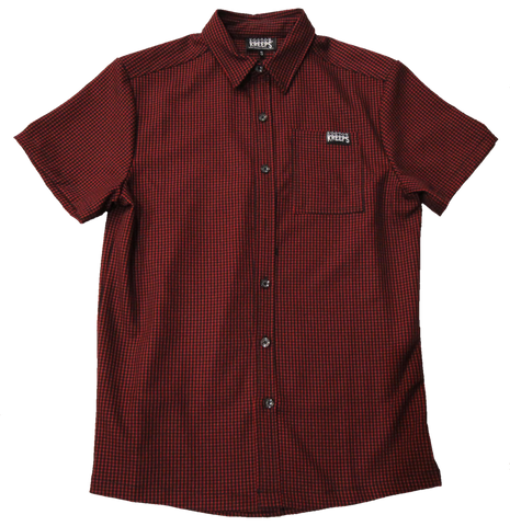 Buttoned Check Oxblood Shirt