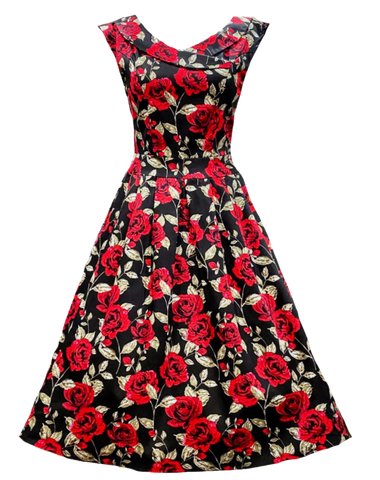 Vintage Night Rose Dress (Calista)