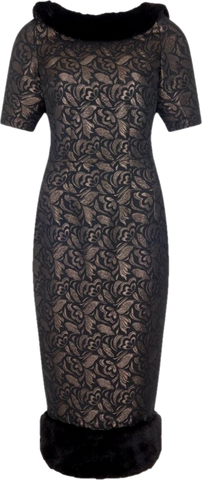 Juliette Faux Mink Pencil Dress