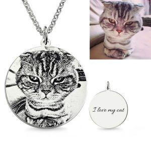 Personalized Pet Photo Engraved Necklace Sterling Silver