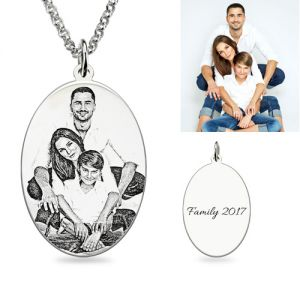 Personalized Oval Engraved Photo Necklace In Sterling Silver
