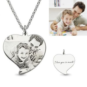 Heart Engraved Photo Mother Necklace In Sterling Silver