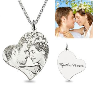 Personalized Heart Photo Necklace Memorial Charm In Sterling Silver