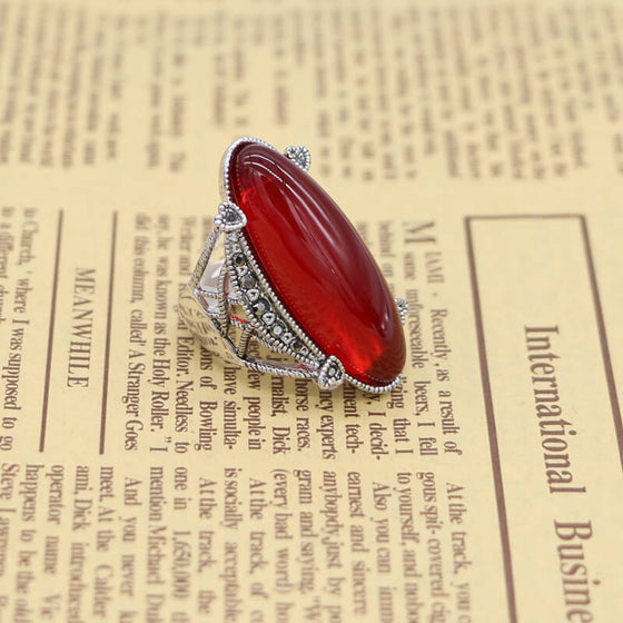 Red Oval Opal Rings for Women Vintage Style