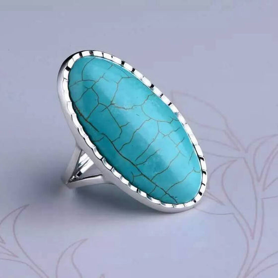 925 Sterling Silver Gem Rings Green Turquoise
