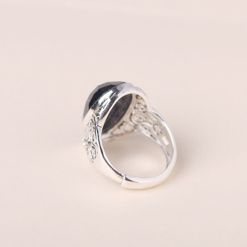 Blue Sand Stone Rings 925 Sterling Silver Ring,Gem rings for women ...