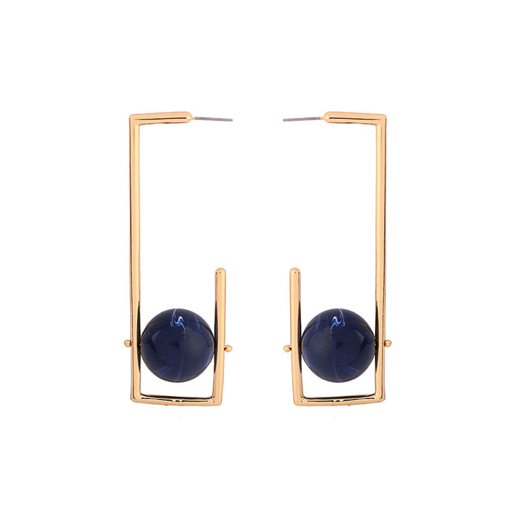 Geometric Rectangle Round Ball Stud Earrings