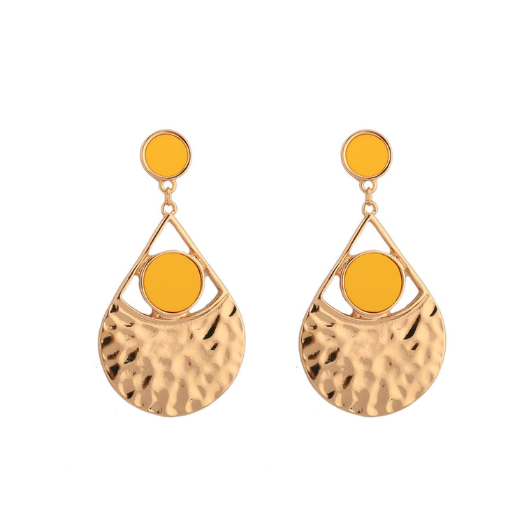 Geometric Gold Color Plated Statement Earrings