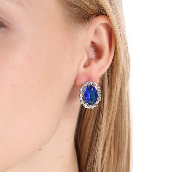 Blue Oval Crystal Earrings