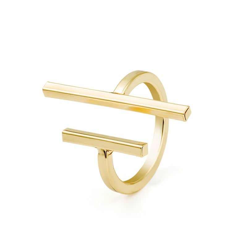 Gold Open Bar Simple Ring